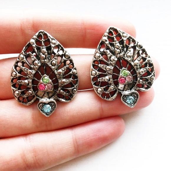 Vintage Jewelry - Silver openwork & rhinestone chunky spade earrings